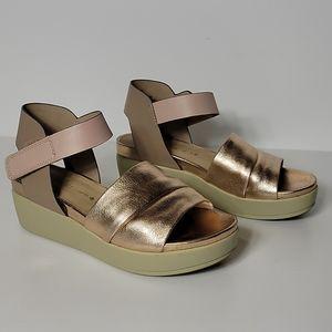 Naked Feet Platform Sandals, Metallic Rose Gold